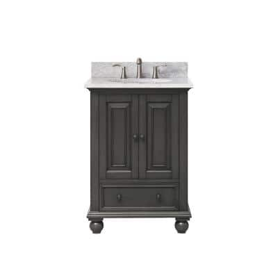 Thompson 25 in. W x 22 in. D x 35 in. H Vanity in Charcoal Glaze with Marble Vanity Top in Carrera White with Basin