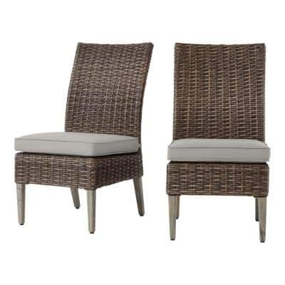 Rock Cliff Brown Stationary Wicker Outdoor Patio Armless Dining Chair with CushionGuard Stone Gray Cushions (2-Pack)