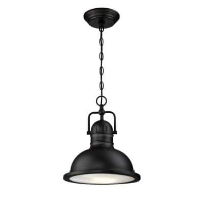 Orson 1-Light Textured Black LED Outdoor Pendant Light with Clear Prismatic Lens