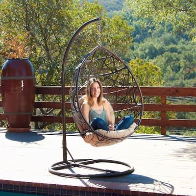 Stefanie Brown Wicker Patio Swing with Beige Cushion