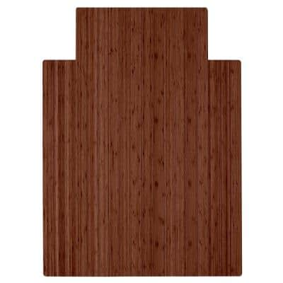 Walnut 36 in. x 48 in. Bamboo Roll-Up Chair Mat with Lip