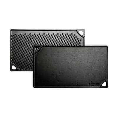 Double Play 16.75 in. Black Cast Iron Reversible Stovetop Griddle