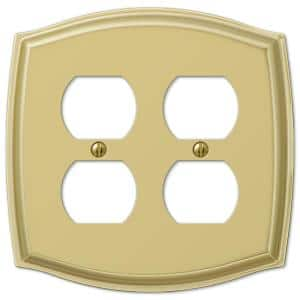 Vineyard 2 Gang Duplex Steel Wall Plate - Polished Brass