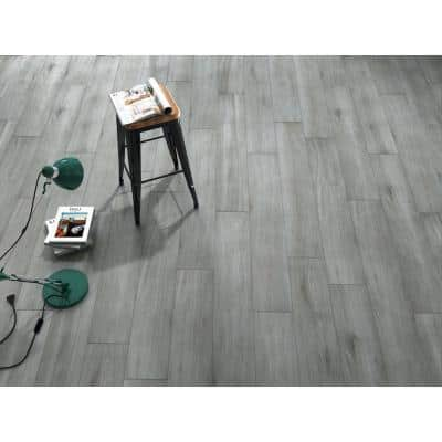 Woodlands Gray 8 in. x 48 in. Porcelain Floor and Wall Tile (12.92 sq. ft. / case)
