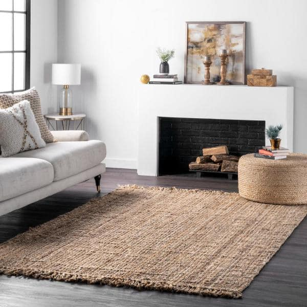 Nuloom Natura Chunky Loop Jute Tan 3 Ft X 8 Ft Runner Nccl01 2608 The Home Depot