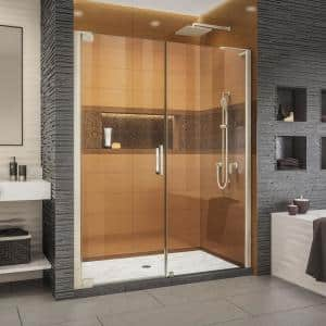 Elegance-LS 58-1/2 in. to 60-1/2 in. W x 72 in. H Frameless Pivot Shower Door in Brushed Nickel