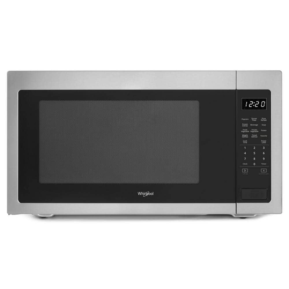 whirlpool 2 2 cu ft countertop microwave in fingerprint resistant stainless steel with 1 200 watt cooking power wmc50522hz the home depot