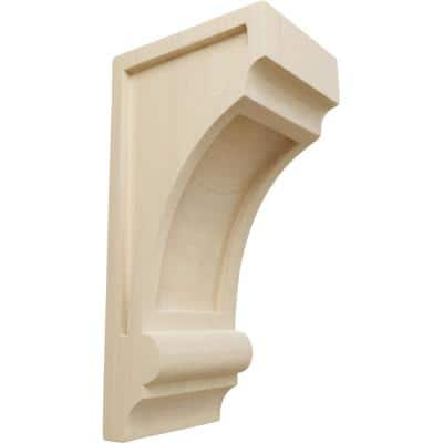5 in. x 4 in. x 10 in. Unfinished Wood Rubberwood Diane Recessed Wood Corbel
