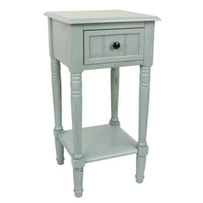 Simplify Antique Iced Blue 1-Drawer End Table