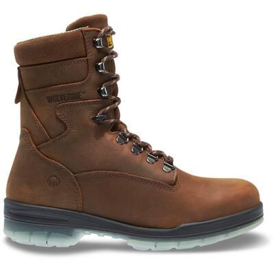Men's I-90 Durashocks Waterproof 8'' Work Boots - Steel Toe - Brown Size 9.5(W)