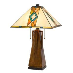 25 in. Brown Resin Indoor Table Lamp with Shade