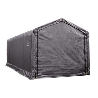 12 ft. W x 25 ft. D x 11 ft. H ShelterTube Steel and Polyethylene Garage without Floor in Grey with Waterproof Fabric