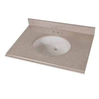 31 in. x 22 in. Colorpoint Vanity Top in Maui with White Sink