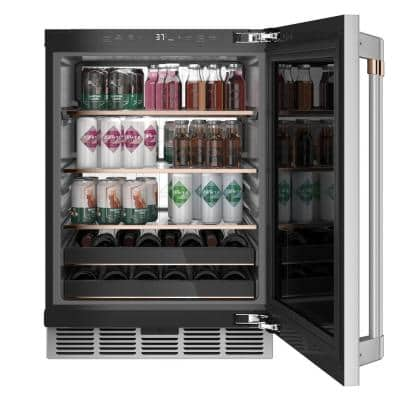 24 in. 14-Bottle Wine and 126-Can Beverage Cooler in Stainless Steel