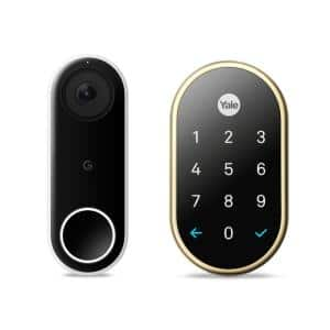 Nest Hello video doorbell and Nest x Yale Lock in Polished Brass with Nest Connect