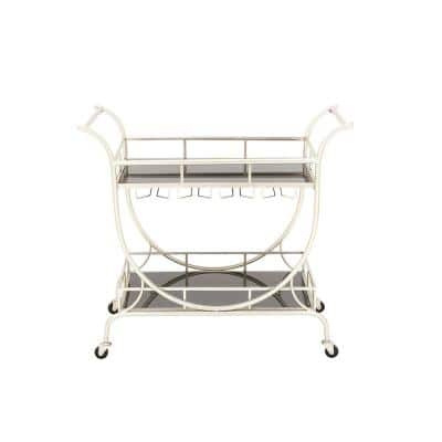 Polished Silver Rectangular Iron and Glass 2-Tier Wheeled Cart