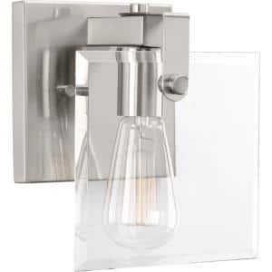 Glayse Collection 1-Light Brushed Nickel Clear Glass Luxe Bath Vanity Light
