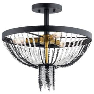 Alexia 3-Light Textured Black Semi-Flush Mount Ceiling Light with Crystal Beads Textured