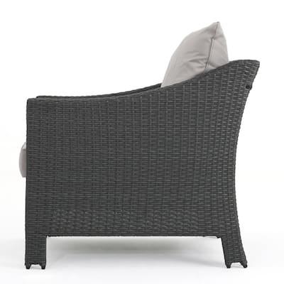 Natasha Grey 5-Piece Wicker Patio Fire Pit Conversation Set with Silver Cushions