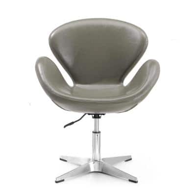 Raspberry Leatherette Adjustable Swivel Chair