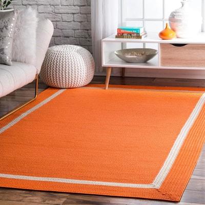 Gwenyth Geometric Orange 8 ft. x 10 ft. Indoor/Outdoor Area Rug