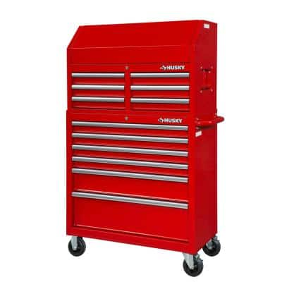 36 in. 12-Drawer Tool Chest and Cabinet combo in Gloss Red