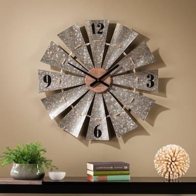 Chadkirk Aged Galvanized Aluminum and Natural Wood Oversized Decorative Windmill Wall Clock