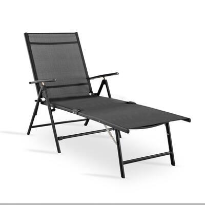 Grey 1-Piece Textilene Metal Outdoor Chaise Lounge