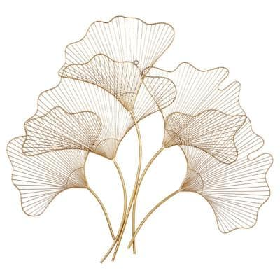 33 in. x 36 in. Gold Metal Glam Floral Wall Decor