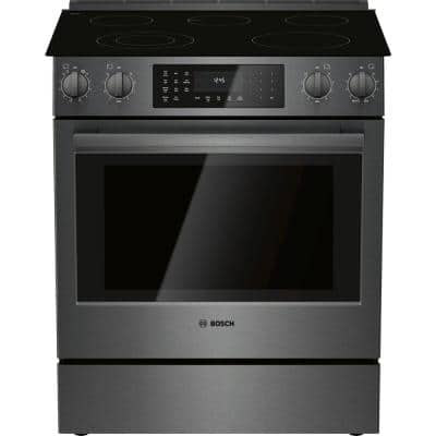 800 Series 30 in. 4.6 cu. ft. Slide-In Electric Range with Self-Cleaning Convection Oven in Black Stainless Steel