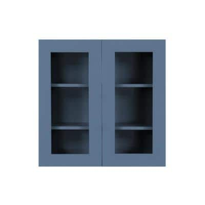 Lancaster Blue Plywood Shaker Stock Assembled Wall Glass-Door Kitchen Cabinet 24 in. W x 12 in. D x 36 in. H