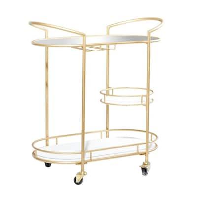 33 in. Gold Metal Contemporary Bar Cart