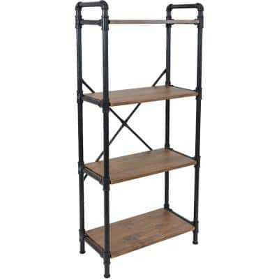 55.50 in. Teak 4-Shelf Standard Bookcase with Black Pipe