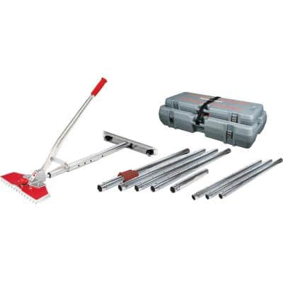 12-Piece 38 ft. Junior Power Carpet Stretcher Value Kit with Adjustable Locking Tube and Rolling, Interlocking Cases
