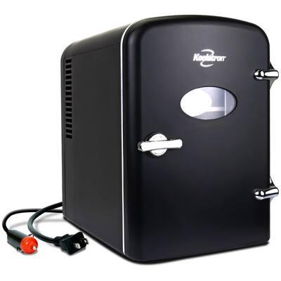 0.14 cu. ft. Retro Portable Mini Fridge Cooler in Black without Freezer