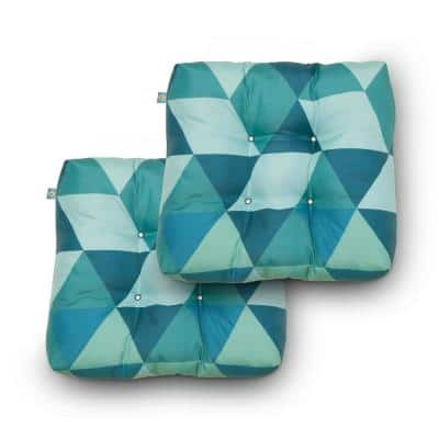 19 in. x 19 in. x 5 in. Blue Lagoon Geo Square Indoor/Outdoor Seat Cushions (2-Pack)