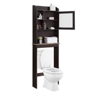 Shccout 23.25 in. W x 7.5 in. D x 69 in. H Over-the-Toilet Wall Cabinet in Espresso