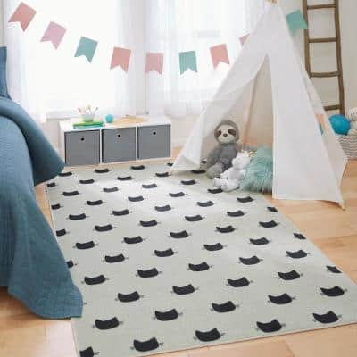 Kitty Cat Cream 3 ft. x 5 ft. Whimsical Area Rug