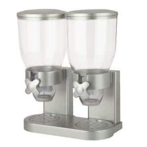 Double Siver Cereal Dispenser with Portion Control