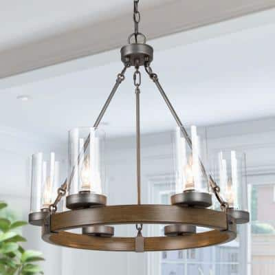 Eliora Farmhouse Chandelier 6-Light Brushed Gray Hanging Pendant Lighting for Kitchen Island with Clear Glass Shade