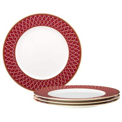 Crochet White and Deep Red, Bone China Set of 4 Dinner Plates, 11 in.