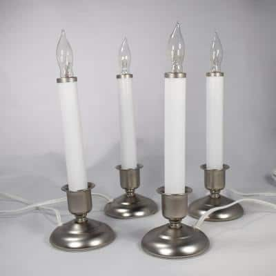 9 in. Electric Christmas Candles with Pewter Base (Set of 4)