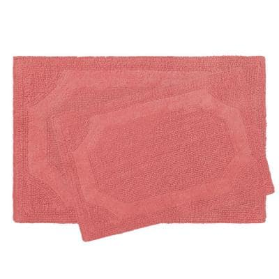 Solid Reversible Coral 20 in. x 32 in. 2-Piece Set Bath Mat