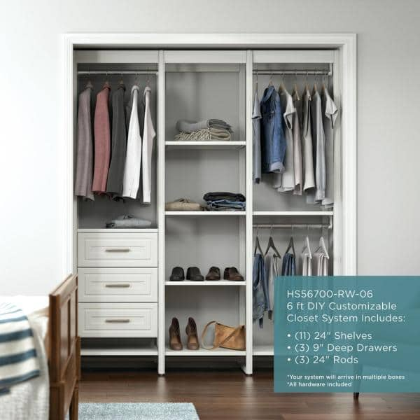 Closets By Liberty 68 5 In W White Adjustable Tower Wood Closet System With 3 Drawers And 11 Shelves Hs56700 Rw 06 The Home Depot