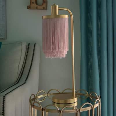 Framboise 26.5 Gold Table Lamp with Fringe Lamp Shade