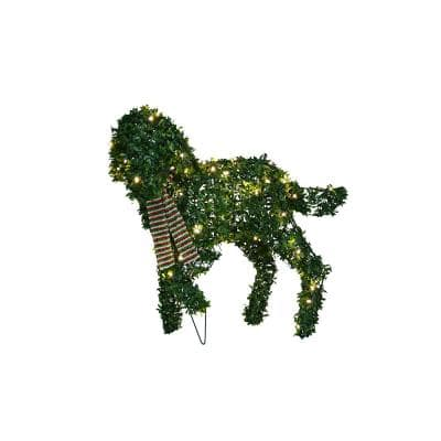 20 in. Topiary Standing Dog 50 Lights Knock Down