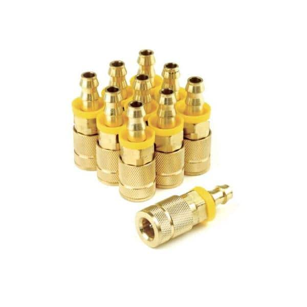 Primefit 6 Ball Automotive Brass Coupler 1 4 In X 3 8 In Push On Hose Barb Bulk Bagged 10 Count Tc1438pb6 B10 P The Home Depot
