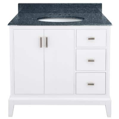 Shaelyn 37 in. W x 22 in. D Bath Vanity in White RH Drawers with Granite Vanity Top in Blue Pearl with White Sink