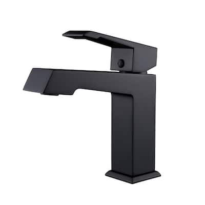Hurley Modern Single Hole Single-Handle Bathroom Faucet in Black