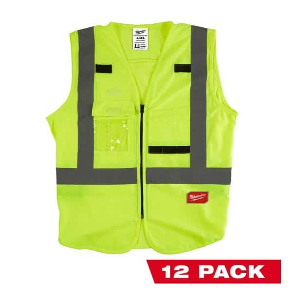 Milwaukee Large X Large Yellow Class 2 High Visibility Safety Vest With 10 Pockets 12 Pack 48 73 5022x12 The Home Depot